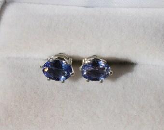 Tanzanite Earrings Oval Studs Sterling Silver