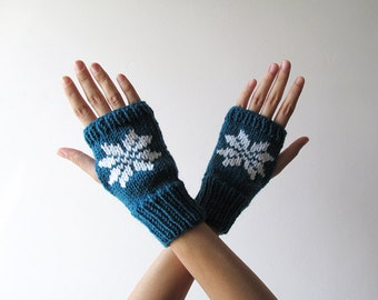 Hand Knit Fingerless Gloves in Petroleum Green - Embroidered Snowflake - Seamless - Wool Blend - Made to Order