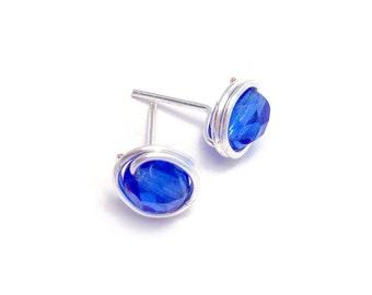 Cobalt Blue Wire Wrapped Stud Earrings | Stud Earrings | Blue Studs | Handmade Earrings | Jewellery UK
