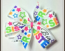 Big Sister Pinwheel Boutique Hair Bow Toddlers Girls Teens alligator clip Pony O Hair Tie