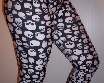 Skull Leggings (White on Black), Printed Leggings, Yoga Pants, Running Pants