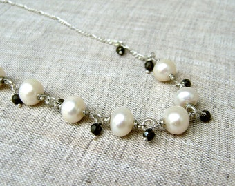 Pearl & Pyrite Necklace - Rustic - Classic Pearl Necklace - Choker Necklace - Short Necklace - Sterling Silver