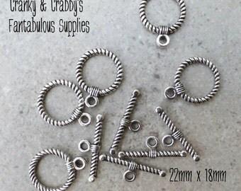 19mm X 14mm Silver Twist Toggle Clasps set of 10