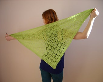 knitted shawl green scarf
