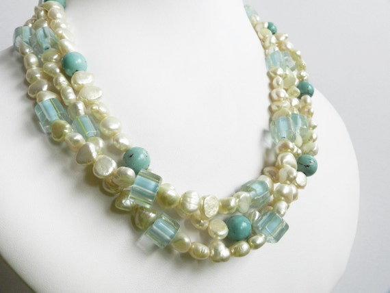 Pearl Choker Necklace, Pale Yellow Pearl Necklace, Turquoise Choker, Mother of the Bride