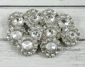 10 Clear Rhinestone Buttons - 21mm Acrylic - Set of Ten