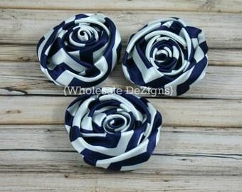 """Navy Blue Chevron Satin Rolled Rosette Flowers - 2"""" - Set of 3"""