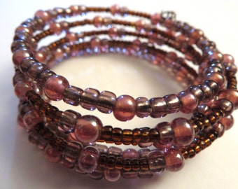 Pink Wire Bracelet- memory ball pink and purple bracelet spring