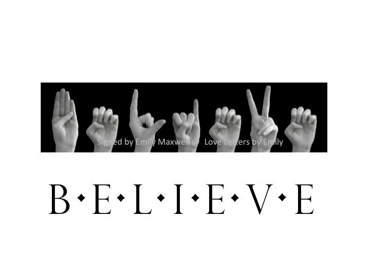 BELIEVE ASL American Sign Language Letters Black & White