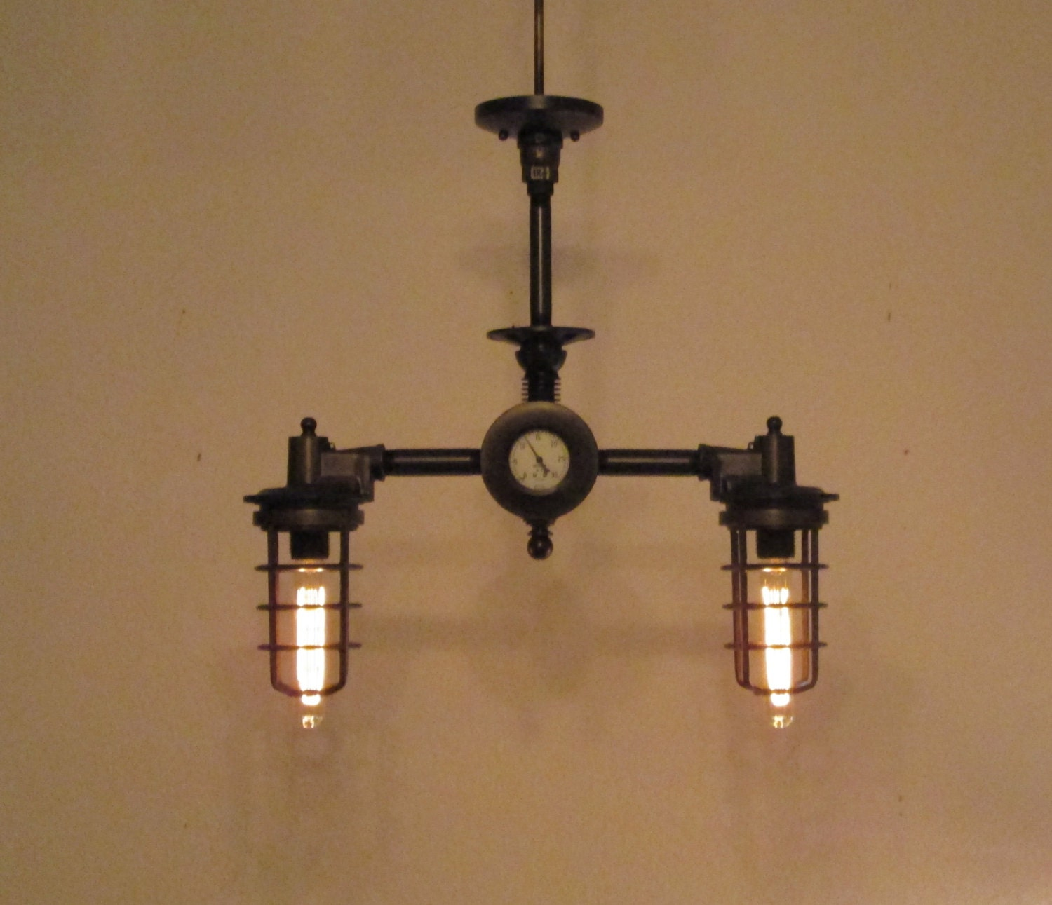 Vintage And Industrial Lighting From Etsy: Steampunk Light Vintage Industrial Chandelier By