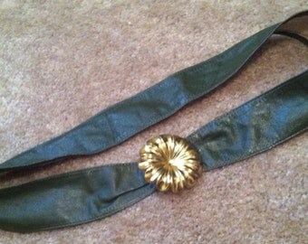 """Olive green leather belt with brass flower closure- up to 33.5"""""""