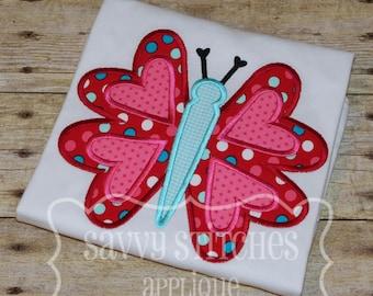 Valentine Butterfly Machine Embroidery Applique Design