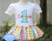 Personalized Spring Rainbow Chevron Fabric Tutu Birthday Outfit