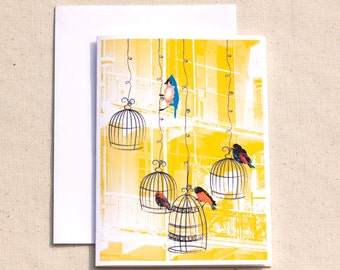 Bird Note Cards, Bird Stationary, Bird Thank You, All Occasion Cards,Handmade Greeting Card, Bird cage in the City Card