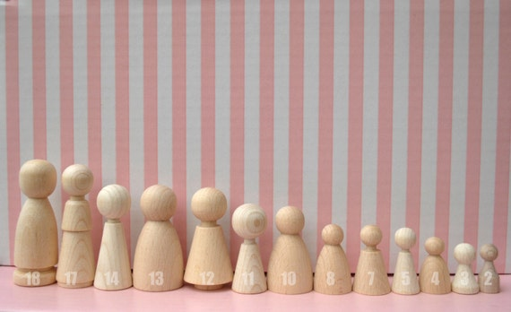 Wooden Peg Doll Unfinished Wood graft kit Waldorf 13 different doll blank, ecofriendly party favors,
