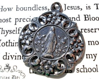 "Blessed Mother - Mary Medal - Our Lady  - Immaculate Conception - Religious Medal -  1"" - STERLING - Made in the USA"