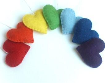 Felt heart ornaments - Rainbow - set of 7 - Heart ornaments - Valentine's day/Birthday/Christmas/Housewarming home decor