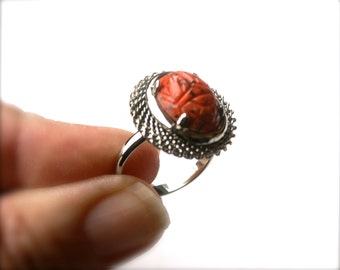 Coral Matrix Ring Adjustable Silver Tone Vintage Oval Glass Cabochon with Egyptian Etched Scarab