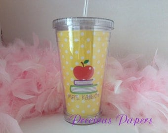 Personalized Teacher plastic cup with lid and straw - Teacher plastic cup - teacher gift  -teacher gift plastic cup- personalized coffee mug