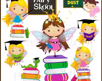 FAIRY Clipart, Education Graphics, Educatin clipart, Graduation Clipart, Whimsical School Clipart, School books Graphics, Commercial Use OK