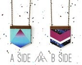 Reversible Necklace, Jewel-tone Sunset Ombre / Galaxy