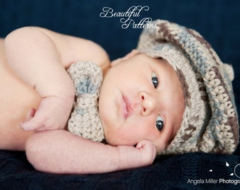 Crochet Hat PATTERN Baby Boy Newsboy Cap Slouchy Beanie Bow Tie Visor PDF Pattern 330 Newborn to 24 Month Photo Prop Instant Download
