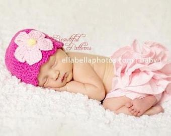 Crochet Hat Pattern Baby Daisy Flower Hat Flapper Hat Skull Cap Beanie Hat Crochet PDF 120 Newborn to Adult Photo Prop Instant Download