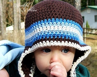 Crochet Hat PATTERN Baby Boy Earflap Beanie Hat Five Stripe PDF 240 Newborn to Preteen  Photography Prop Instant Download