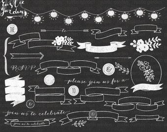 Chalkboard banner clipart. Chalk digital kit for Wedding cards, invitations. Fairy lights and flowers PNG for small commercial use