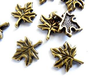 10 Antique Bronze Maple Leaf Charms - 21-47-4
