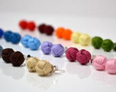 Sterling Silver Monkey's Fist Knot Earrings - Post - Many Colors Available!