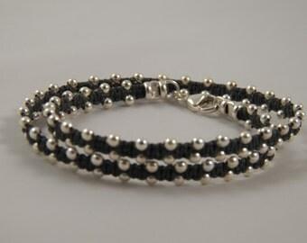 """Sterling Silver Wrap Bracelet """"Silver Lining"""" DOUBLE Wrap Bracelet on Charcoal Grey Irish Linen Cord - Sterling Silver Beaded Bracelet"""