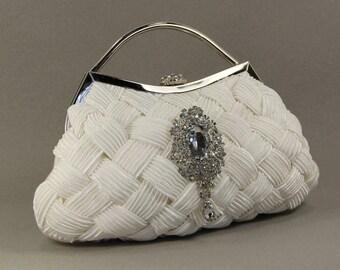 Off White Wedding Bridal Clutch - Off White Chiffon Bridal Clutch with Swarovski Crystal Accent - Wedding purse - Off White Wedding dress