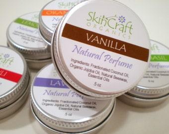 Natural Vanilla Perfume - Solid Perfume - Pure Vanilla Essential Oil - Natural Local Beeswax  .5 oz Tin
