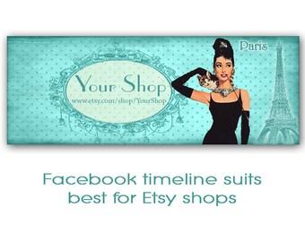 Paris Facebook timeline cover banner Breakfast at Tiffany's Audrey Hepburn Digital download Vintage images - TIFFANYS TIMELINE