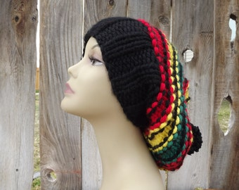 Rasta Hat with Pom Pom - Super Slouchy - Beanie - Black, Red, Yellow and Green-100% Acyrlic