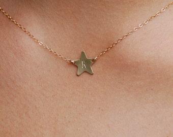 Superstar. Star necklace, gold filled star necklace, personalized star, initial necklace, star initial necklace