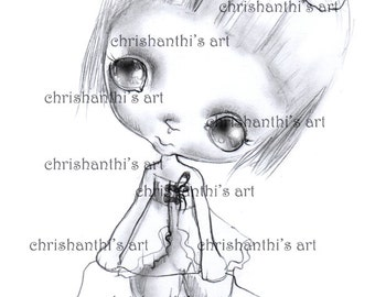 INSTANT DOWNLOAD Digital Digi Stamps..by Chrishanthi's art,Creepy girls.