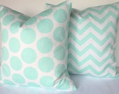 MINT PILLOWS SET of 2- Mint Green Decorative Throw Pillows Aqua Pillow 16x16 18 20 Polka Dot Throw pillow covers .Sale. Mint Chevron Pillows