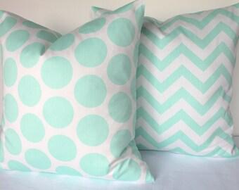 MINT PILLOWS SET of 2 -Mint Green Throw Pillow Covers Aqua 16 18x18 20 Polka Dot Green pillow Covers Mint Chevron Pillows .Sale.