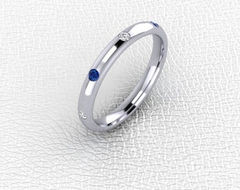 Platinum flush set Diamond and Sapphire band