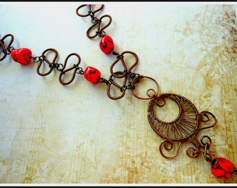SALE! Antique Copper Wire Wrappped Necklace,Art Deco,Artisan,Vintage Bronze,Red Gemstone,Statement Necklace,Gypsy ,Romantic,Lacey Pendant