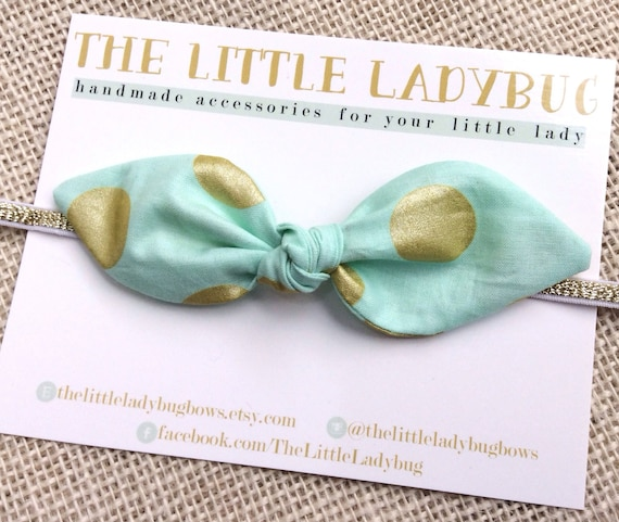 Mint with Gold Dots Pattern Twisted Knot Fabric Bow Headband or Clip, Everyday, Newborn, Baby Girl, Toddler