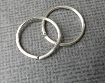 Men's Hoop Earrings, Sterling Silver, TINY Hoops, Small Sleepers, Men's Earring, Endless Hoop