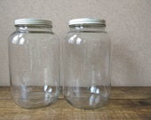 CUSTOM FOR AMANDA - (2) Gallon glass jars with lids - Clear storage container