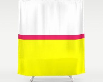 "Shower Curtain Modern Color Blocks 71""x74"" Decorative Geometric Lines Home Yellow Hot Neon Pink White Bright Fresh Bathroom Decor Unique Fun"