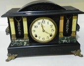 Ingraham Circa 1900 8 day Black Mantel Clock
