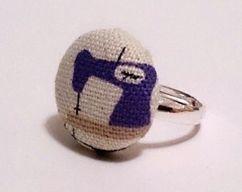 Sewing Machine Ring, Purple and Cream Haberdashery Fabric Button Ring, Silver Ring