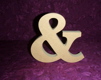 """Ampersand Letter & Free Standing Unfinished Wood Wedding Sign Paintable MDF 6"""" Inch Tall"""