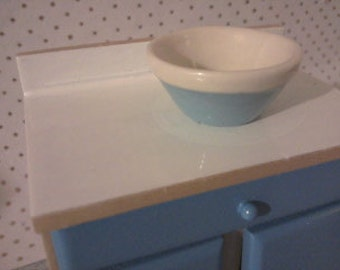 Dolls house baking Kitchenware in blue  and cream miniature mixing bowl